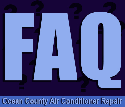 Ocean County air conditioner repair in light font at bottom of graphic of large FAQ iwth a background of questionmarks
