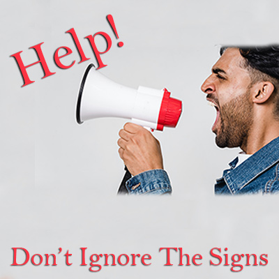 """Emergency heating repair Toms River, man with megaphone with text Help on top and """"Don't ignore the signs"""" on bottom"""